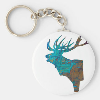deer head stag in turqouis and brown key ring