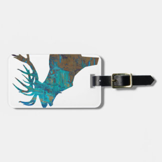 deer head stag in turqouis and brown luggage tag
