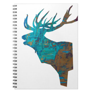 deer head stag in turqouis and brown notebooks