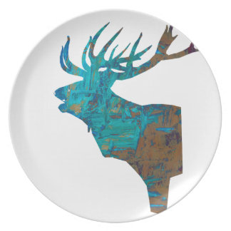 deer head stag in turqouis and brown plate