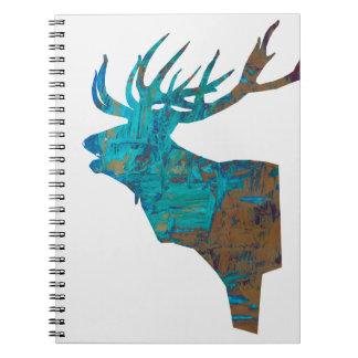 deer head stag in turquois notebook