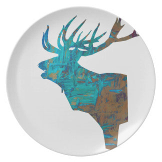 deer head stag in turquois plate