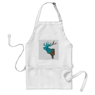 deer head stag in turquois standard apron