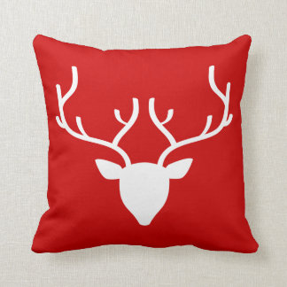 Deer Head with Antlers Pillow on Santa Red