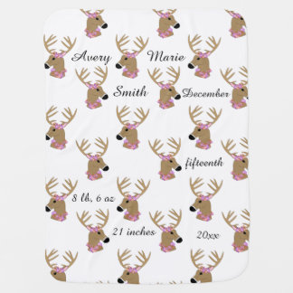 Deer Heads with Name Buggy Blanket