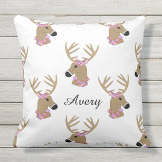 Deer Heads with Name Outdoor Cushion