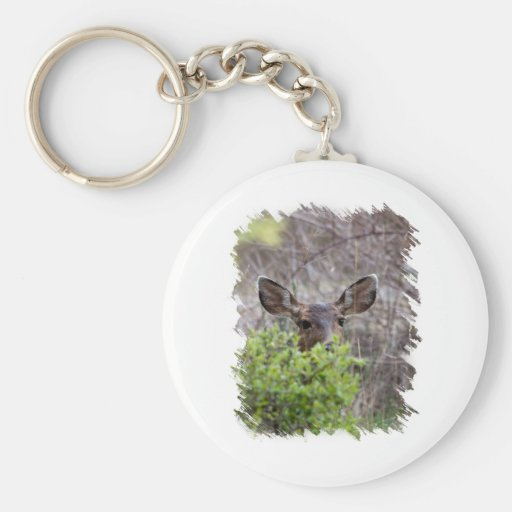 Deer hiding in bushes keychain