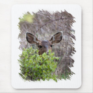 Deer hiding in bushes mouse pad