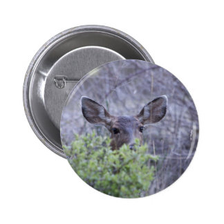 Deer hiding in bushes pinback buttons