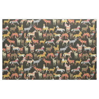 deer horse ikat party fabric