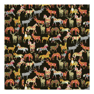 deer horse ikat party posters