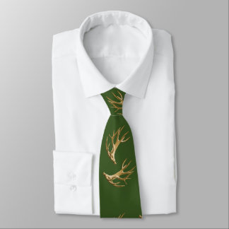 Deer Hunter Antlers Forest Green Tie