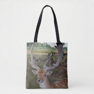 Deer in a park all-over-print tote bag
