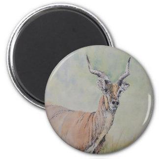 Deer in Field 6 Cm Round Magnet