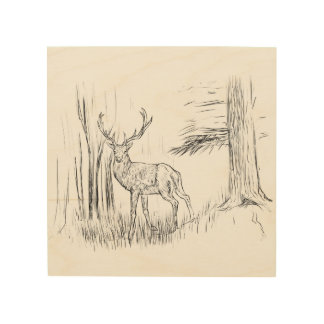 Deer In Forest Wood Wall Art