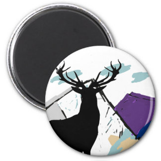 Deer in mountains 6 cm round magnet