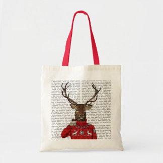 Deer in Ski Sweater 2 Budget Tote Bag
