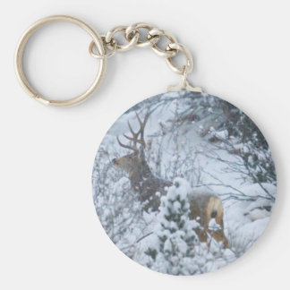 Deer in Snow Basic Round Button Key Ring
