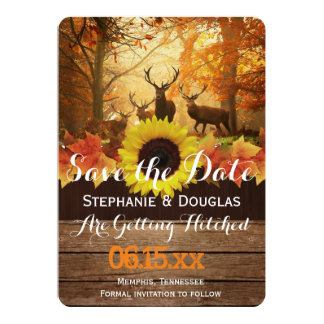 Deer in the autumn sun rays /Save The Date Card