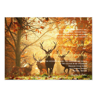 Deer in the autumn sun rays /Wedding Invitation
