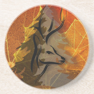 Deer in the Autumn Woods Drink Coasters
