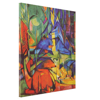 Deer in the Forest II by Franz Marc, Vintage Art Canvas Print