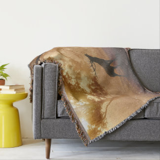 Deer In The Forest Throw Blanket