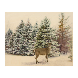 Deer in the Forest, Winter Landscape Wood Wall Art