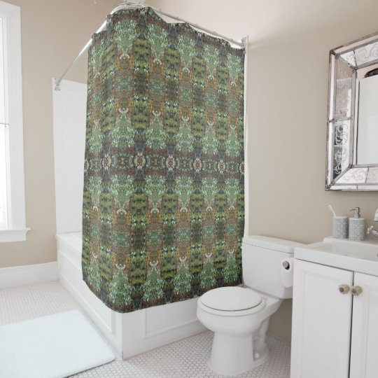 Deer in the Gardens First Freeze geometric Shower Curtain