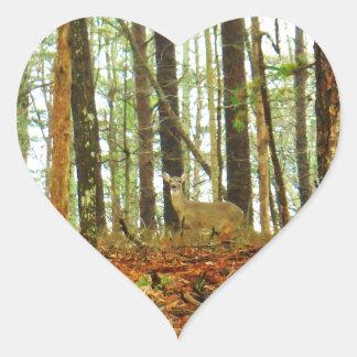 Deer in the Misty Pines Heart Sticker