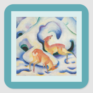 Deer in the Snow by Franz Marc Square Sticker