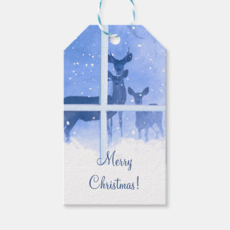 Deer in the Snow Merry Christmas Gift Tags