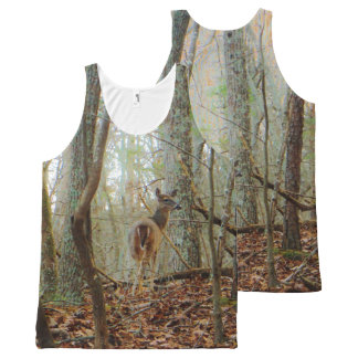Deer in the wood. Camo Camouflage All-Over Print Singlet