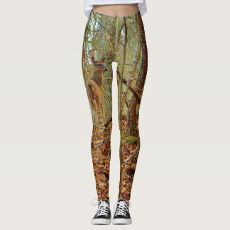 Deer in the wood. Camo Camouflage stretch pants. Leggings