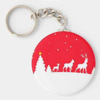 Deer in winter landscape key ring
