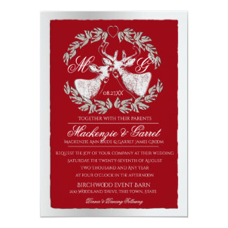 Deer in Wreath with Monogram Silver and Red 13 Cm X 18 Cm Invitation Card