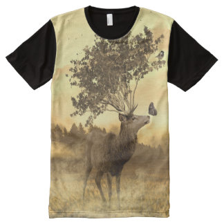 Deer - Leaves - Butterfly ( Sepia ) All-Over Print T-Shirt
