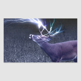 Deer Lightning Rectangular Sticker