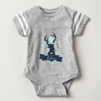 Deer Little Man, Custom, Baby Football Bodysuit