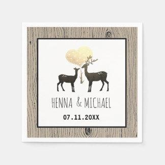Deer Love Woodland Deer Wedding Custom Paper Napkin