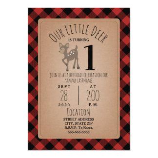Deer Lumberjack Plaid Birthday Party Card