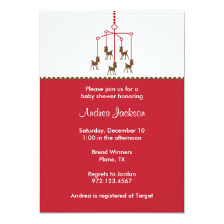 Deer Mobile Baby Shower Invitations Personalized Announcement