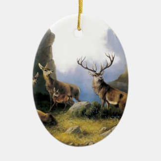 Deer mountains nature wild anomals painting ceramic ornament