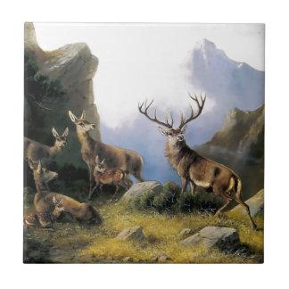 Deer mountains nature wild anomals painting ceramic tile