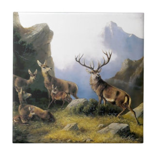 Deer mountains nature wild anomals painting small square tile