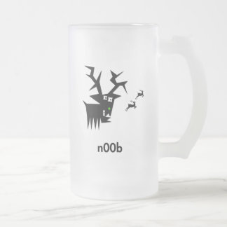 Deer n00b frosted glass mug