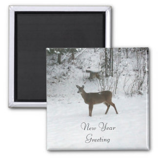 Deer-New Year Greeting Square Magnet