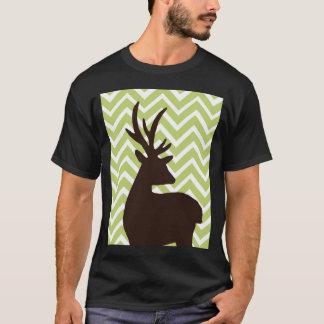 Deer on Chevron Zigzag - Green and White T-Shirt