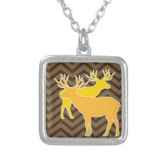 Deer on zigzag chevron - Brown Necklace