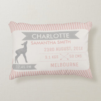Deer or Faun Birth Announcement Cushion Accent Cushion